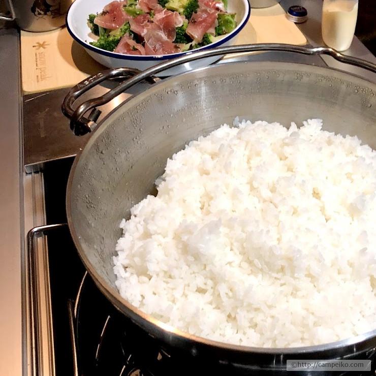 ダッチオーブンで白飯